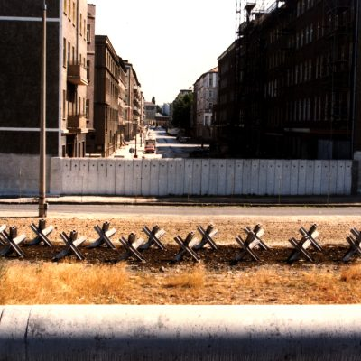 2.Berlin Wall. Wolliner Strasse, German Democratic Republic, seen from Bernauer Strasse. 9 July 1983