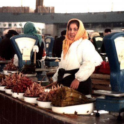 24.Woman selling garlic. Baumansky Market Moscow. Baumansky Street. 3 December 1983