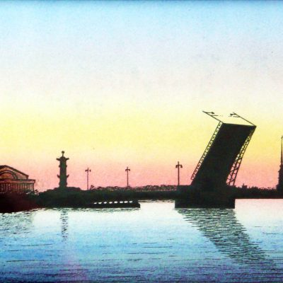 80.Anonymous painting of a raised bridge over the Neva during the white nights in Leningrad.