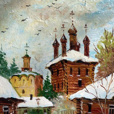 83.Anonymous painting of a wooden church.
